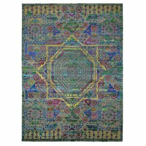 10'x14' Colorful Sari Silk Mamluk Design Hand Knotted Oriental Rug R47551