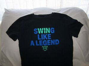 Boys Under Armour Black  SS SWING LIKE A LEGEND BASEBALL Shirt Large LOOSE FIT