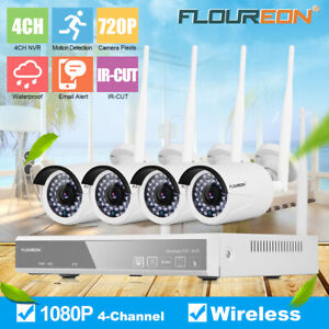 4CH Wireless CCTV 1080P DVR Kit NVR Wifi WLAN Home Security 1.3MP Camera System