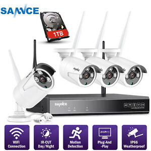 SANNCE 4CH 1080P NVR Wireless Home Security IP Camera System IR Night Vision 1TB