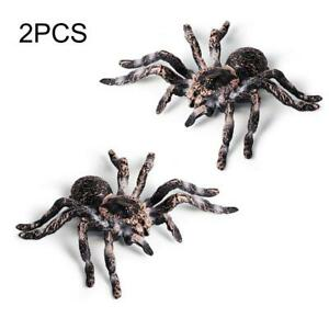 2Pcs Large Fake Realistic Spider Insect Model Halloween Joke Scary Props Kid Toy