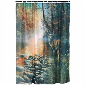 C--755 RIVERS EDGE HOME DÉCOR BATHROOM OUTDOOR CURTAIN WATER SHED W 12 RINGS