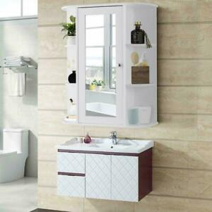 Home Bathroom Wall Mount Cabinet Storage Shelf Over Toilet w Mirror Door