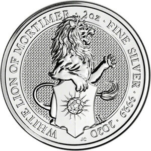 2020 Great Britain Silver Queen's Beasts White Lion £5 - 2 oz - BU