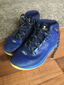 Under Armour Stephen Curry Youth Size 3Y Basketball Shoes Blue & Yellow High Top