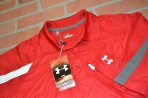 3504-a Mens Under Armour Golf Polo Shirt Size Small Red Polyester NEW TAGS