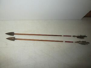 Vintage Early Period pair of Handmade 29 inch Metal Indian type Arrows Archery