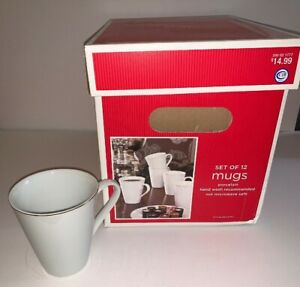 TARGET Holiday 09 Set of 12 Porcelain Mugs WHITE/GOLD RIM 12 fl.oz. NWT Boxed