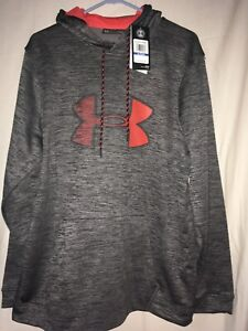 Under Armour Mens XL Cold Gear Logo Graphic Hoodie X-Large Heathered Gray