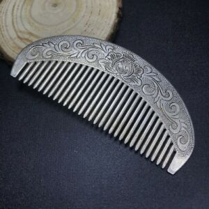 Chinese old Tibet silver Carving Carved silver comb