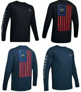 Under Armour 1343565 Mens Athletic UA Freedom New Flag T Shirt Long Sleeve Tee $26.99