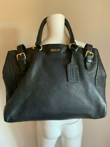 Worn ONCE PRADA LARGE Black LEATHER Purse BAG 16