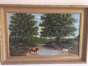 Antique oil painting landscape with cows large Signed and Dated.