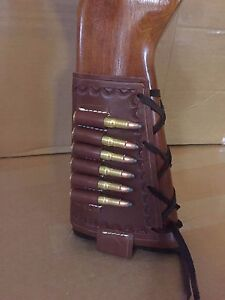 38 Spcl 357 Magnum Cal Leather Bullet Ammo Cartridge Rifle Stock Buttstock Cover