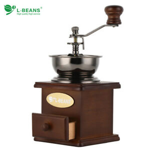 Manual Hand Crank Wooden Metal Coffee Pepper Herb Mill Spice Grinder