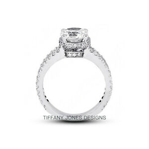 6.44 CT E-SI1 Round Cut Earth Mined Certified Diamonds 18k Gold Side-Stone Ring