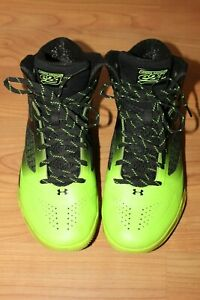 Under Armour Charged Clutch Fit Basketball Shoes Hi Top Mens 10.5 Black Green