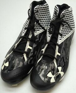 New $109 Under Armour Shoes Mens US 12 Black White NEW w o Box Baseball Cleats $47.98