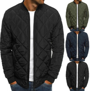 Mens Bomber Jacket Autumn and Winter Long Sleeve Diamond Quilted Cotton Jacket