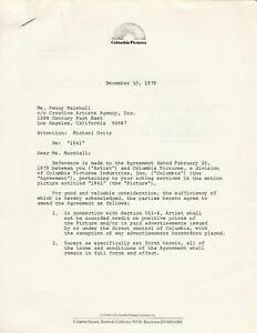 1979 PENNY MARSHALL Signed Contract Amendment for Columbia Pictures Movie quot;1941quot; $350.00