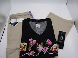 Med Couture Khaki 8741 amp; Cherokee Runway 3781 Medical Scrub Set Small New