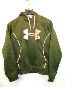 Under Armour M Green Pink Camo Logo Hoodie Sweatshirt Semi Fitted Womens Md