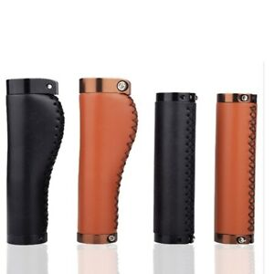 PU Leather Mountain Bike Bicycle Cycling Lockable Hand Sewing Handle Grips $15.69