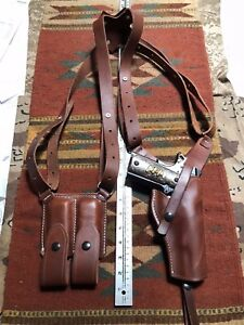 FITS Colt 45 M1911 Shoulder Holster & Magazine Pouch Leather Vertical Draw USA M