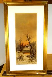 WINTER SUNSET CABIN amp; POND 1894 Framed Victorian Lithograph by Chandler Print $84.55
