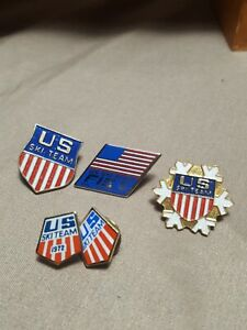 Vintage US Ski Team Pin lapel pin lot(5) mix collectable  downhill skiing