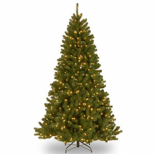 National Tree Company 7 1/2' North Valley Spruce Hinged Tree with 550 Low Vol...