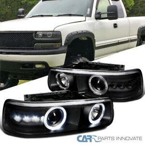 Fit 99 02 Silverado 00 06 Suburban Tahoe LED DRL Halo Black Projector Headlights