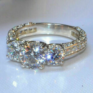Real 14k White Gold 3 CT Diamond Round Cut Three Stone Engagement Ring Certified