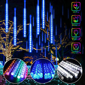 144LED Waterproof Lights Meteor Shower Rain 8 Tube Tree Outdoor Light Xmas Decor