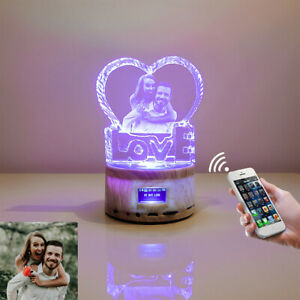 Personalized Photo Crystal Colorful Music Night Light Engraved with Your Picture $55.95