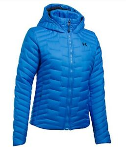 Women's Under Armour Coldgear Reactor Hooded Jacket Blue Size Small 1303112 983 $69.99