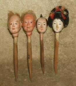 Late Edo, Early Meiji Period (1850-1870's) Japanese Doll Head Bento Food Picks