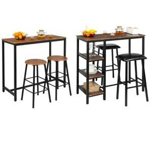 Hot 3 Piece Pub Table Set Bar Stools Dining Home Kitchen Furniture Chairs 2 Size