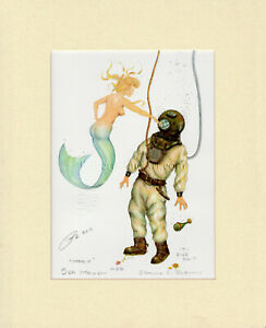 Vintage Deep Sea Diver Mermaid Matted Print Anniversary Gift Nautical Home Decor $39.99
