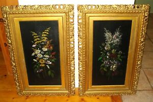 Antique Original Harry Driscole Two Flower Oil Paintings on Wood Panel c.1884