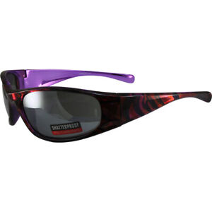 Kaleidoscope Motorcycle Glasses Purple Psychedelic Frames w Flash Mirror Lens