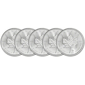 2020 Canada Silver Maple Leaf - 1 oz - $5 - BU - Five 5 Coins $115.04