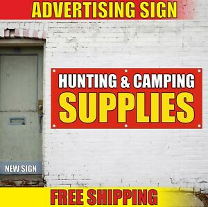 HUNTING CAMPING Banner Advertising Vinyl Sign Flag SUPPLIES fishing gear shop 24