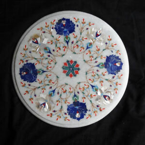 12quot; side end Marble white Table Top Pietra dura Inlay Furniture Decor