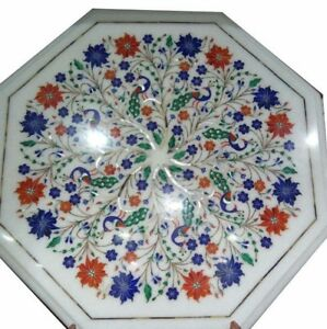 14quot; side end Marble white Table Top Pietra dura Inlay Furniture Decor gift