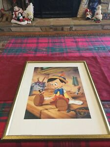 "1993 DISNEY Commemorative Lithograph Framed ""Pinocchio"" Exclusive Edition"