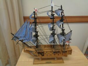 HMS VICTORY BRITISH MARITIME SHIP WOODEN REPLICA 12quot; X 13quot; HIGH VINTAGE $29.50