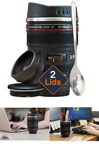 Camera Lens Coffee Mug Cup Tea Travel Photo Funny DSLR Stainless Steel Thermos +