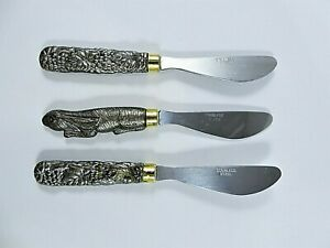 Vintage Cheese Spreaders Mixed Lot 3 Pewter Handled Rabbit & Grapevine Stainless