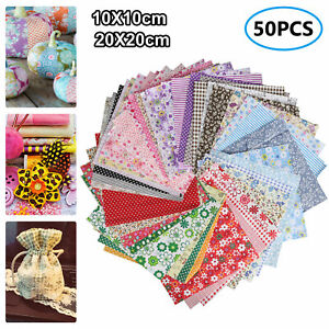 50 100pc Square Fabric Bundle Cotton Patchwork Sewing Quilting Tissues Cloth DIY $9.57